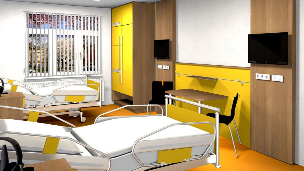 individuelle Inneneinrichtung für Patientenzimmer von Interhansa