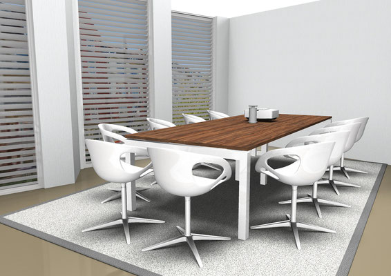 Seminartischanlage mit kopfseitigem Sideboard