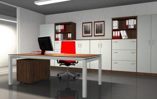 Moderne Arbeitsplatzkombination – Tischplatte schwebend