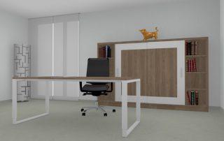 Schreibtisch höheneinstellbar mit schwebender Tischplatte in Nussbaum