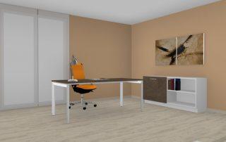 Schreibtisch höheneinstellbar mit Schiebeelement