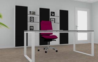 Schreibtisch mit schwebender Multiplex-Tischplatte und Schrankeinheit