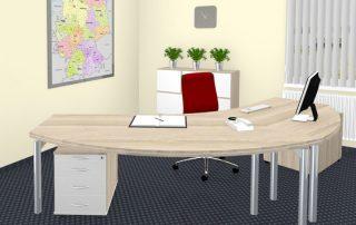 Freiformarbeitsplatzmit Sandwichtischplatte Akazie, schwebende Tischbeine, Druckeransatz und Rollcontainer
