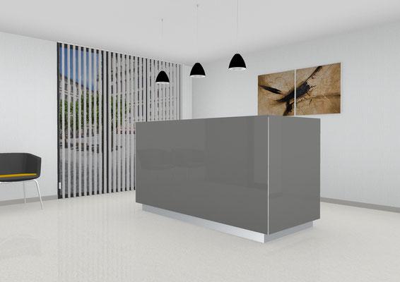 Eleganter Empfangstresen als Anlaufstation mit integriertem Arbeitsplatz. Lieferbar in jeder anderen Abmessung, Ausführung und Oberfläche.