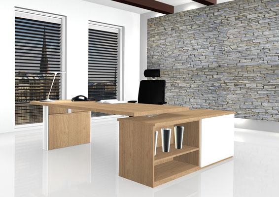 Chefarbeitsplatz mit angesetzter Flachstrecke, Arbeitsfläche höhenverstellbar ( Sitz-Steh )