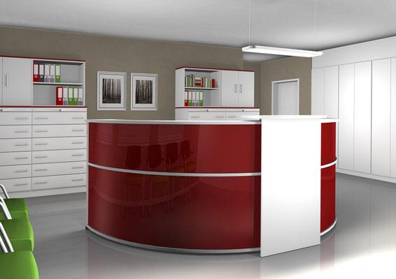 Empfangs- und Beratungspoint – rund – mit Anlaufpunkt rot Hochglanz, Deckplatte weiß