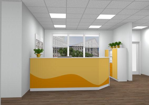 Moderne Tresenkombination mit farblich gewellter Front