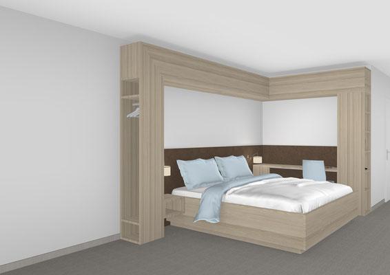 Doppelbett mit Schrankumbau in einer Reha-Klinik