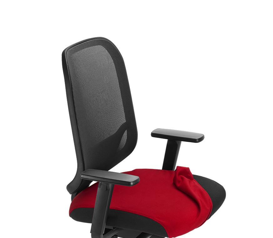 Hochwertiger Schreibtischstuhl mit Netzrücken, Besonderheit. Anknöpfbare Sitzfläche in vielen Farben