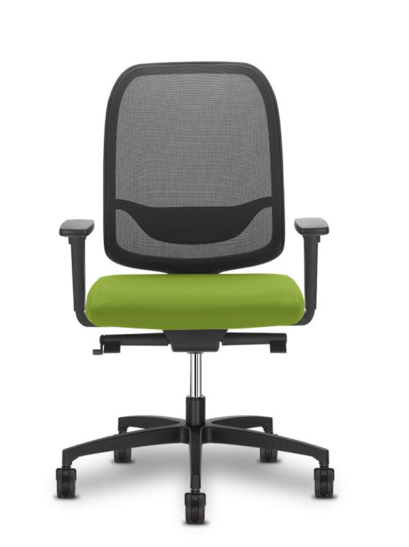 Hochwertiger Schreibtischstuhl mit Netzrücken, Besonderheit: Anknöpfbare Sitzfläche in vielen Farben