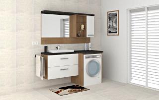 Badeinrichtung mit Spiegel- und Hängeschrank, Waschtischunterbau + Verkleidung der Waschmaschine