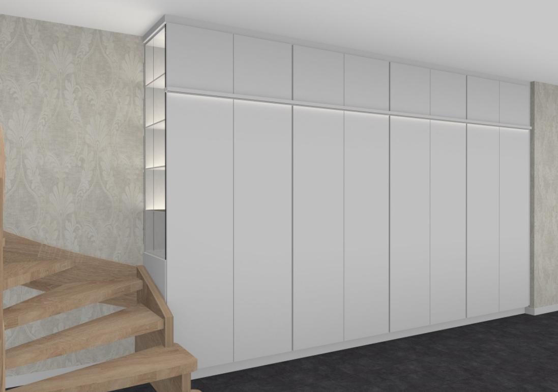 Schrankwand mit Seitennutzung zur Treppe, beleuchtet