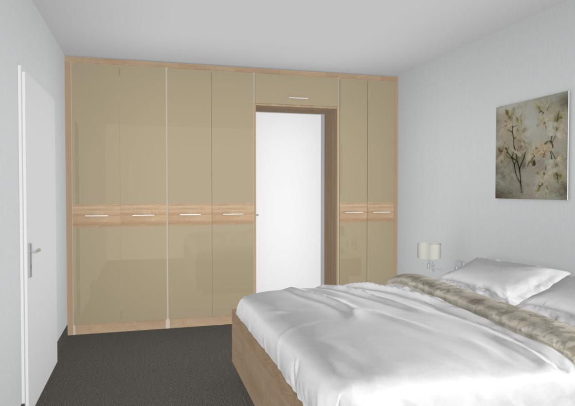 Schlafzimmer mit Betten nach Kundenwunsch, Spiegellackfront