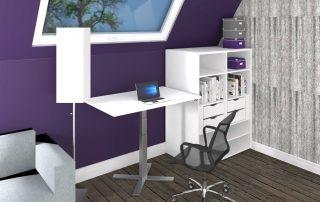 Kleiner Sitz-Steh-Tisch mit Regal für das Heimbüro