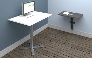 Einsäulen-Tisch, elektromotorisch höhenverstellbar, auch wandmontierte Variante möglich