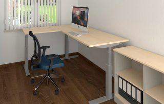 Winkel-Sitz-Steh-Tisch, Höhe zwischen 65 und 130 cm verstellbar