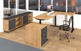 Dreisäulen-Sitz-Steh-Tisch inklusive Standcontainer und Sideboards
