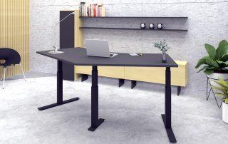 Dreisäulen-Tisch, Sitz-Steh-Variante mit Memoryfunktion (Höhe speicherbar)