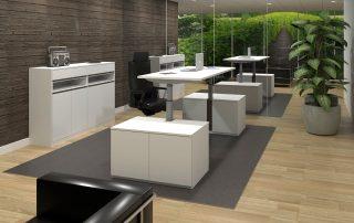 Manager-Arbeitsplatz, Sitz-Steh-Gestell im Sideboard integriert